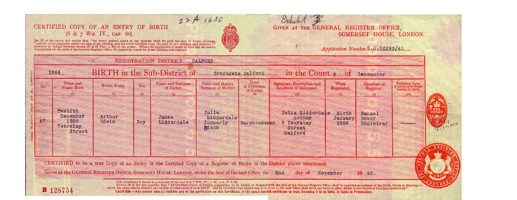 Arthur edwin lidderdale 1865 1951 birth certificate aiddatafo Choice Image